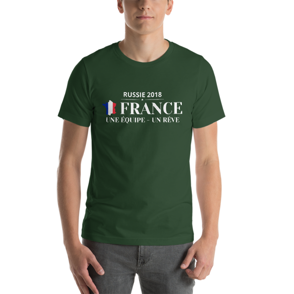 t shirt unisexe coupe du monde 2018 france une equipe un reve id es cadeaux. Black Bedroom Furniture Sets. Home Design Ideas